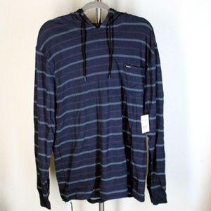 Volcom || Navy Blue Striped Hooded Sweatshirt